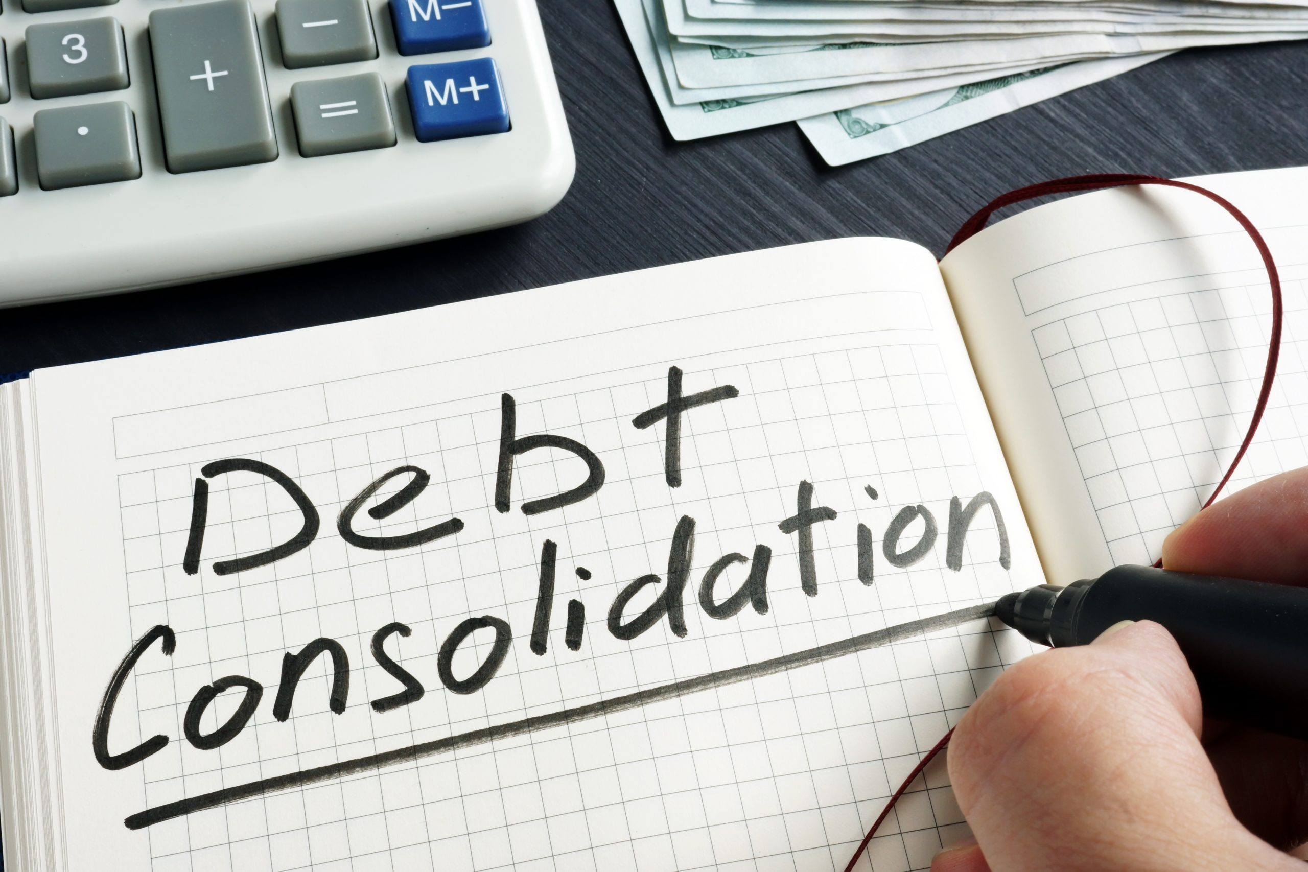 debt consolidation on notepad